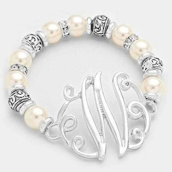 W Pearl & Filigree Metal Beaded Monogram Bracelet