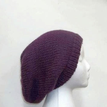Purple slouchy beanie hat, oversized hat, large size  4893