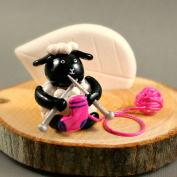 Tree Slice Business Card Holder - Little Knitting Sheep - Miniature Polymer Clay Animal
