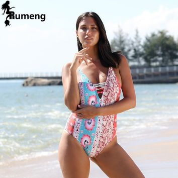 RUMENG 2018 Summer Newset Printed bikini One Piece Print Push Up Bikinis Women Swimwear Beach Bathing