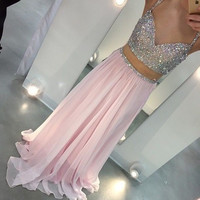 Spark Pink Prom Dresses,Two Pieces Prom Dress