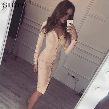 Sexy Leather Suede Lace Up Bandage Winter Autumn Dress Women Long Sleeve Slim Elegant Party Dress