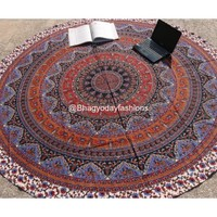 Buy Multicolor Mandala Round Tapestry Hippie Yoga Mat