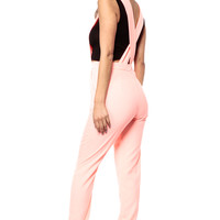 Woman In Coral Overall Jumpsuit