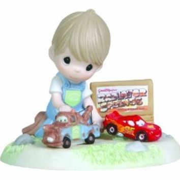 Precious Moments Disney Boy Playing Cars Mater and Lightning McQueen Figurine