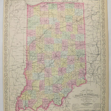 Antique IN Map 1858 Mitchell DeSilver Indiana Map, Original Vintage Map Indiana, Pastel Map, Gift for Coworker, Wedding Gift for Couple