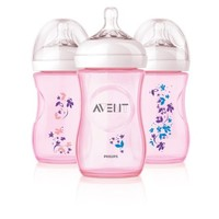 Philips AVENT 9 Ounce BPA Free Natural Polypropylene Bottles, 3 Pk, Pink Flowers