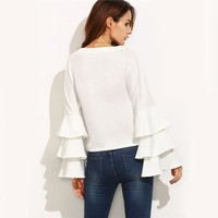White Ruffle Long Sleeve Blouse