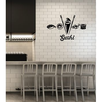 Vinyl Wall Decal Sushi Bar Asian Food Japanese Restaurant Oriental Kitchen Interior Stickers Mural (ig5986)