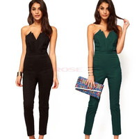 Sexy Lady's Office Style Off-shoulder V-neck Backless Slim Jumpsuit Cocktail Party Clubwear = 1745577476