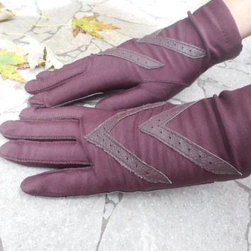 "Vintage Women's Gloves 1960s Brown Aris Isotoner Gloves  Winter Gloves  One Size Fits All 9"" Length"