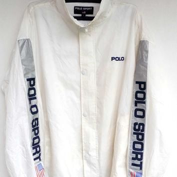 Vintage Polo Sport WindBreaker jacket Flag zipper up Big logo, Polo sport Ralph Lauren