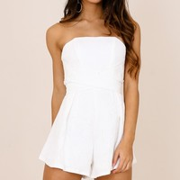 Best Shot playsuit in white Produced By SHOWPO