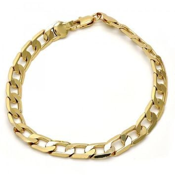 Gold Layered Basic Bracelet, Curb Design, Gold Tone