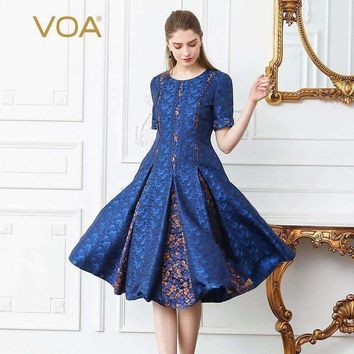 Silk Jacquard Print Pleated Dress Women Plus Size 5Xl Slim Midi Dresses Short Sleeve Blue Traditional A169
