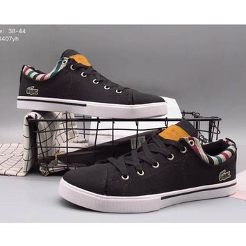 9d04515d49e5bd LACOSTE 17 years of leisure wear low help canvas shoes F-A36H-MY Black