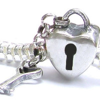 Stamped 925 - KEY to My HEART - LOcK with CHAiN - Charm Bead - fits EURoPEAN Bracelets - MS-2045-C