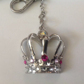 Pink and silver crown keychain