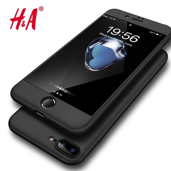 H&A 360 Degree Full Cover Cases iPhone Plus Protection Shell Cover + Tempered Glass