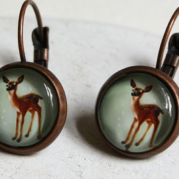 Bambi earrings deer dangle clip earrings small deer round earrings woodland nature kitsch handmade jewelry etsy uk THREE for TWO E269
