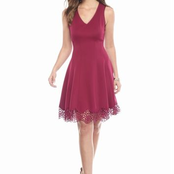 maia Crochet Trim Fit and Flare Dress