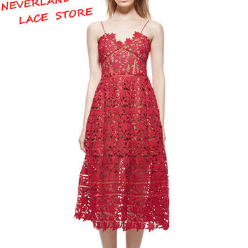 Summer Dresses 2017 Women's Sexy Spaghetti Strap Lace Mid-Calf Dress Crochet V Neck Backless Self Portrait Dress Vestidos #2173