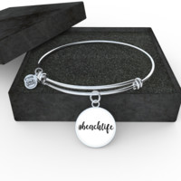 """#beachlife Bangle With White Background - adjustable 8""""-9"""" - Engraving Available"""