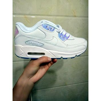 NIKE AIR MAX 90 fashion ladies men running sports shoes sneakers F-PS-XSDZBSH All white + radium laser