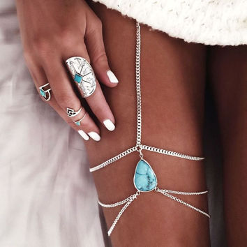 Vintage Antique Silver gold Bohemian Turquoise Leg Chains Multilayer Sexy Thigh Body belly Chain for Women boho Beach Jewelry