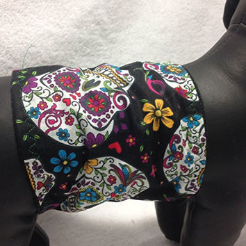 """Sugar Skulls Day of the Dead Dog Belly Band (14-24"""")"""