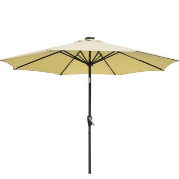 Beige Patio Umbrella 9' Aluminum Patio Market Umbrella Tilt W/ Crank Outdoor 27
