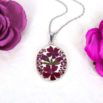 Sterling Silver Pink & Red Rose Dried Flower Oval Necklace