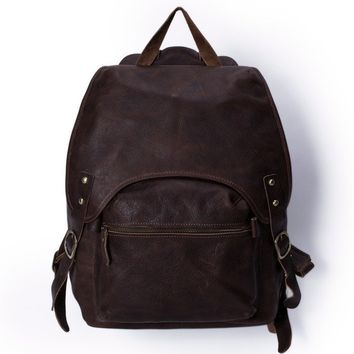 London Vintage Leather Backpack in Dark Brown
