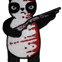 Randy Otter 'Black White & Red All Over' Bloody Panda w/ Shot Gun Patch Applique