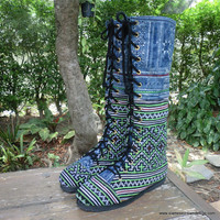 Vegan Womens Boots Green Hmong Embroidery And Indigo Batik Boho Boots Sadie