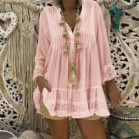 Laamei 5XL Large Size Women Lace Shirts Dress Long Sleeve V-Neck Pleated Loose Mini Dress Female Sexy Blouse Vestido Plus Size