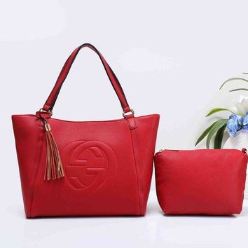 DCCKB62 Gucci Fashionable Personality Pure Color Tassel Leather Shoulder Bag Tote Handbag Set Two-Piece Red I-XS-PJ-BB