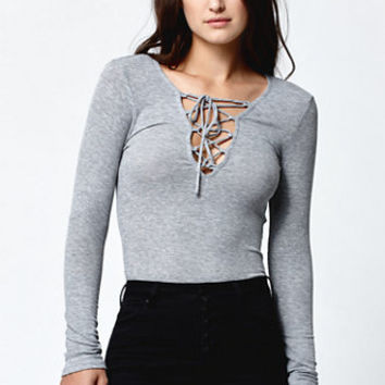 b70fbcdd262 LA Hearts Lace-Up Ribbed Long Sleeve Top at PacSun.com