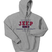 "All Things Jeep - Jeep Sweatshirt - ""Authentic Jeep - Freedom & Capability"" -Grey, Hooded"