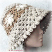 Chunky Crochet Women Lady Hat  Elegant Style With Floral Grandmother Squares CUSTOM ORDER