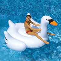 Giant Rideable White Swan Inflatable Float - Summer Lake Swimming Water Lounge Pool Kid Raft Toy