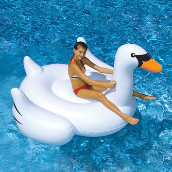 White Inflatable Swan Float New Summer Lake Swimming Water Lounge Pool Kid Giant Rideable Toy Good Quality Adult Raft Inner tube