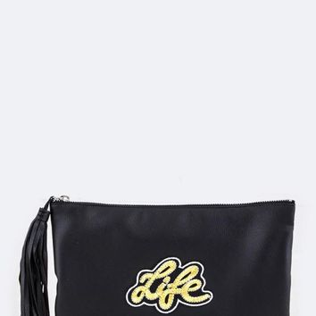 LIFE Gold Embroidery Patch Tassel Soft Clutch