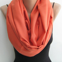 Pashmina circle scarf, coral infinity scarf, autumn loop scarf