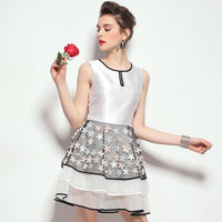 White Star Print Mesh Layered Dress