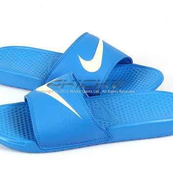 Nike Benassi Swoosh Photo Blue/Natural Sports Slippers Sandals 2012 312618-404