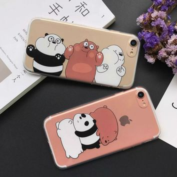 LOVECOM Cartoon Engorge Snooze Panda Bear Animal Transparent Soft TPU Phone Back Cover Case For iPhone 5 5S SE 6 6S 7 Plus