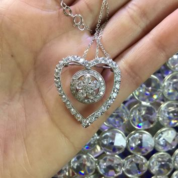 Art Deco Vintage 18K White Gold Diamond Heart Pendant & Brooch With Necklace 100110