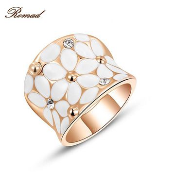 Newest Fashion Rose Ring Gold Color Plating Austrian Crystal Flower Engagement Rings for Women Wedding Jewelry