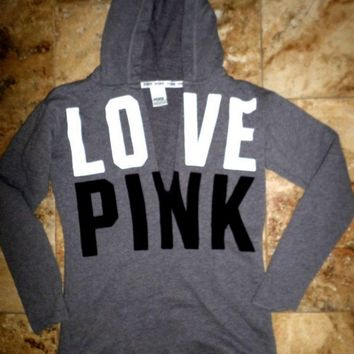 Victoria's Secret PINK Women's Fashion Letter Print V-neck Long-sleeves Pullover Tops Sweater